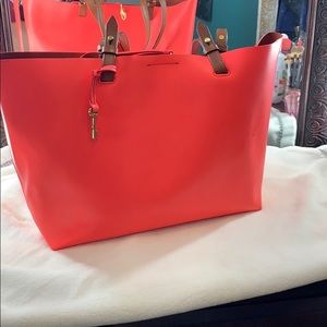 Neon pink fossil bag